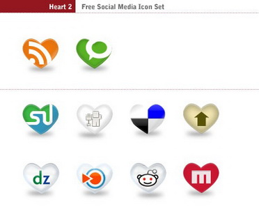 Heart v2: 39 Free Social Icons in Heart Shape