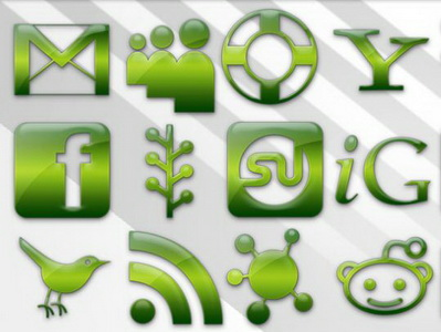 108 Green Jelly Social Media icons