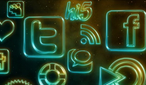 108 Glowing Neon Social Media icons in 512px size