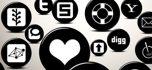 108 3D Black Sphere Social Media Buttons