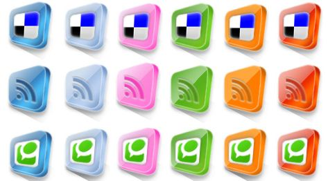 30 3D Colorful Square Social Media buttons