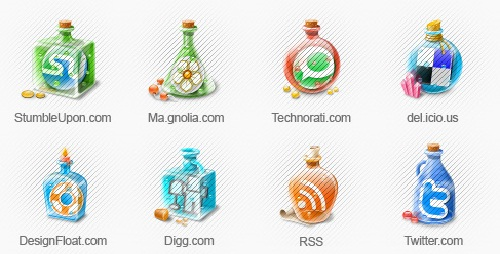 12 Colorful Bottle Social Media icons