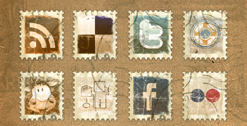 23 Free Vintage Stamp Social Icons