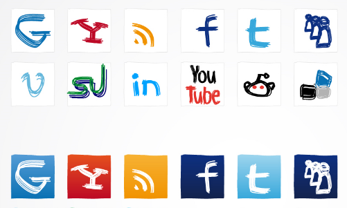 32 Hand-Writing Social Media icons