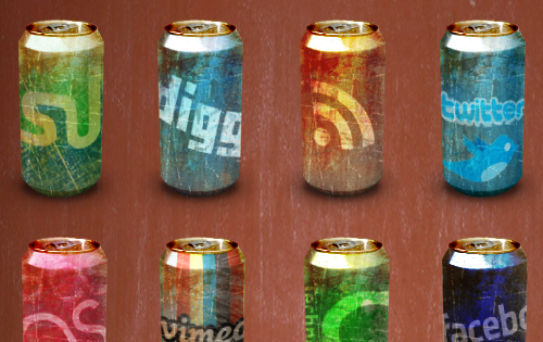 24 Worn Out Soda Cans Social Media Icons