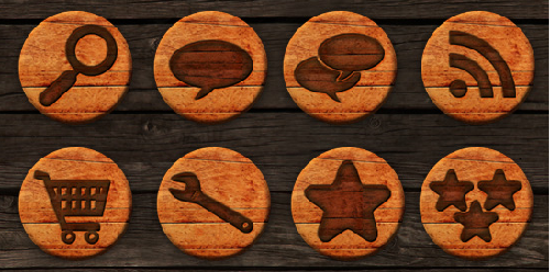 27 Free Wooden Badges Social Media Icons