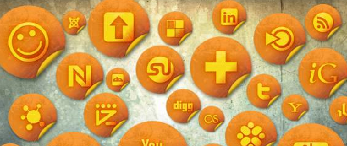 154 Orange Grunge Stickers Social Bookmarking Icons