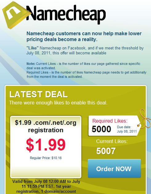 NameCheap offers $1.99 Domain Registration