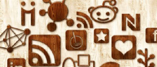108 Glossy Waxed Wood Social Networking Icons