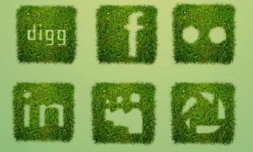 12 Grass Textured Social Media Icons