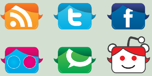 15 Social Media icons in Face style
