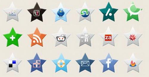 26 social media Star icons
