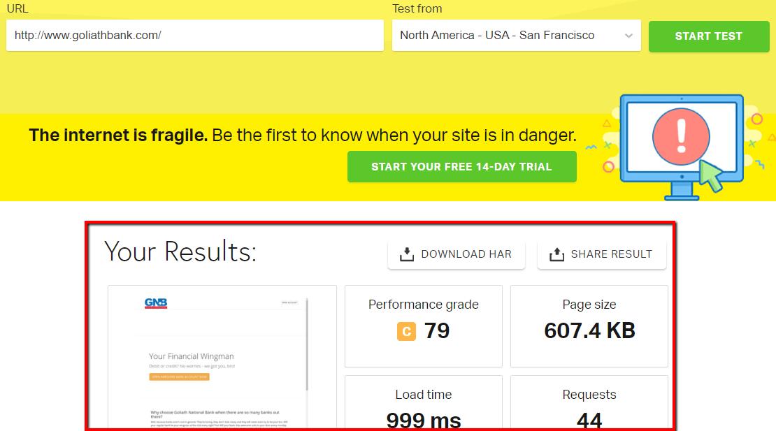 Pingdom - Results